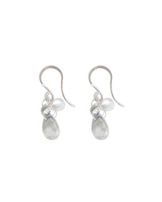Melissa Joy Manning | Metallic Alexandrite, Moonstone And Cat's Eye Three Drop Earrings | Lyst
