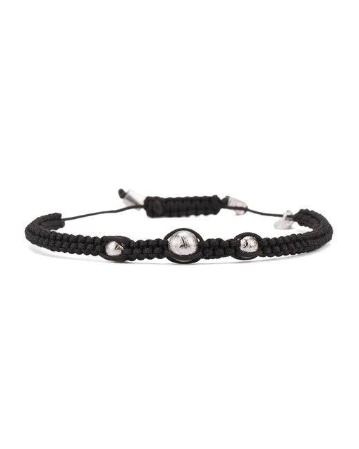 Tateossian | Black Macrame Meteorite Bracelet With 3 Silver Beads for Men | Lyst