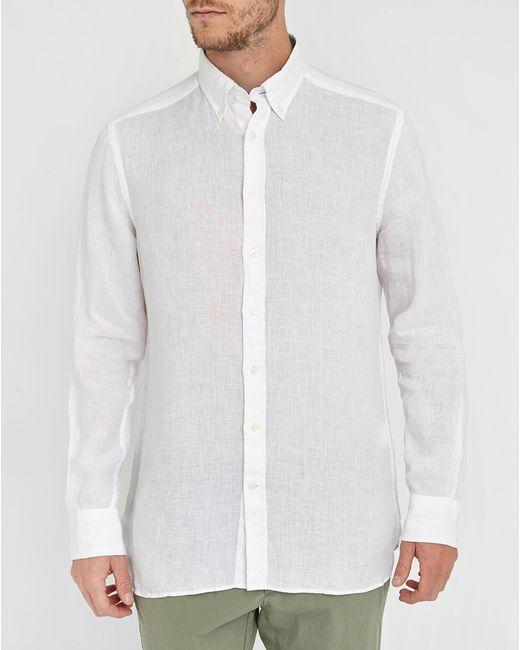 Hackett White Plain Linen Slim Fit Shirt In White For Men
