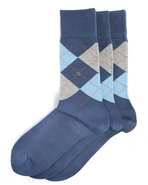 Smythson | 3-pair Pack Of Manchester Blue & Pink Check Socks for Men | Lyst