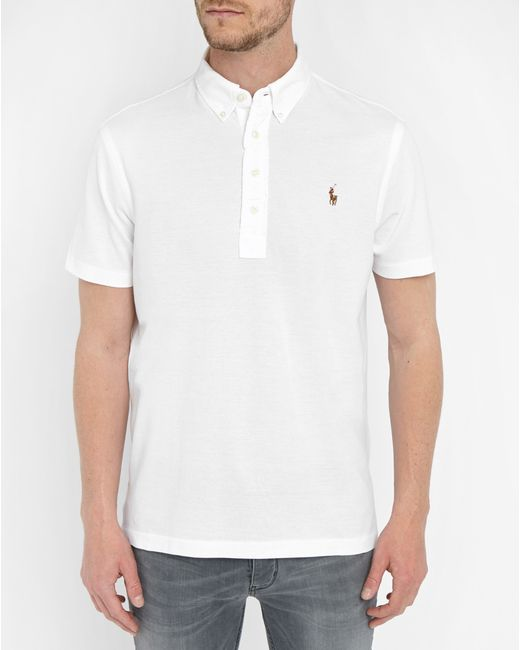 Polo ralph lauren white button down polo shirt in white for Polo shirts without buttons