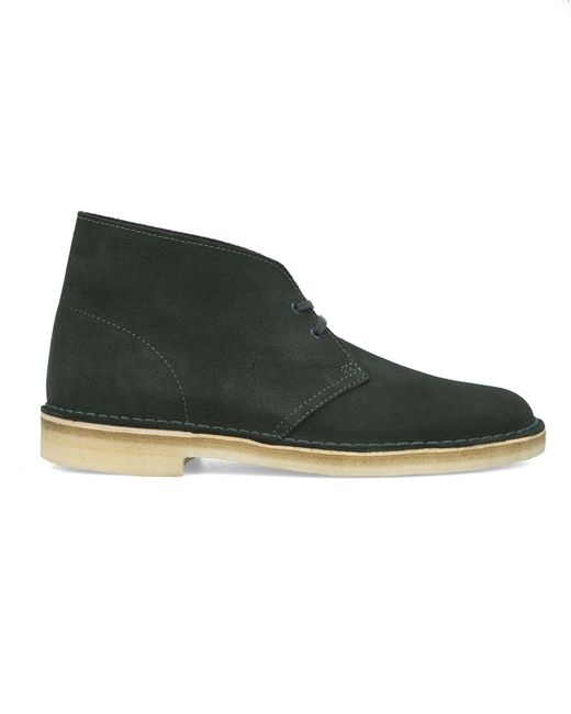 clarks grey suede desert boots in green for lyst