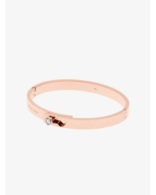 Michael Kors | Pink Rose Gold-tone Heart Hinge Bracelet | Lyst