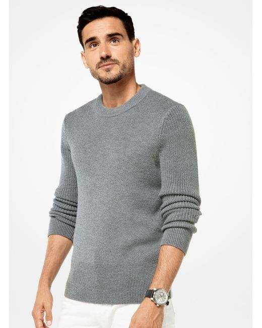 Michael Kors | Gray Merino Knit Pullover for Men | Lyst