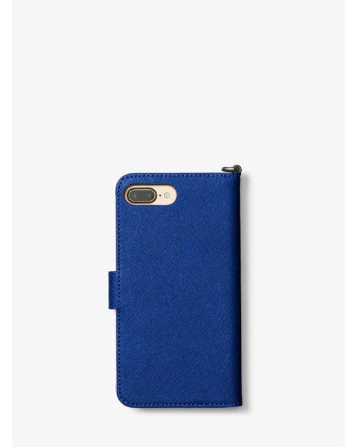 Michael Kors | Blue Saffiano Leather Folio Phone Case For Iphone 7 Plus | Lyst