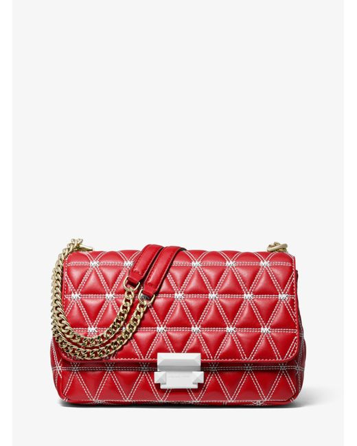 8c0e1dd85a943 Lyst - Michael Kors Sloan Large Quilted Leather Shoulder Bag in Red ...