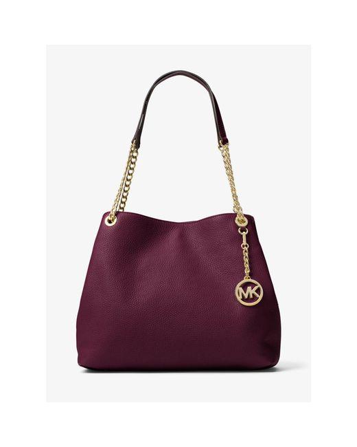 Michael kors Jet Set Large Leather Shoulder Bag in Purple ...