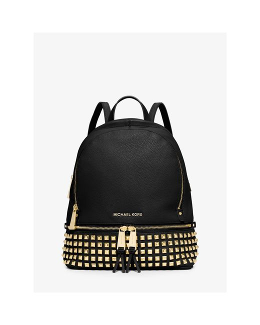 Michael Kors | Black Rhea Small Studded Leather Backpack | Lyst