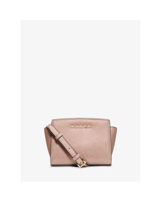 Michael Kors | Pink Selma Mini Saffiano Leather Crossbody | Lyst