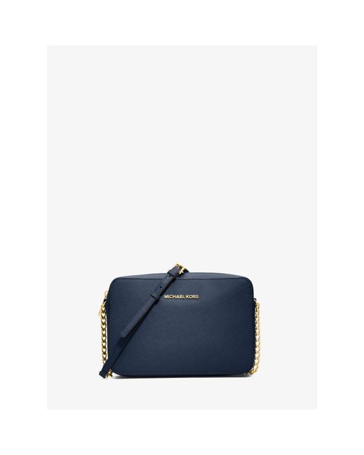 Michael Kors | Blue Jet Set Large Saffiano Leather Crossbody | Lyst