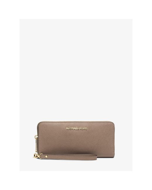 Michael Kors | Gray Jet Set Travel Leather Continental Wallet | Lyst