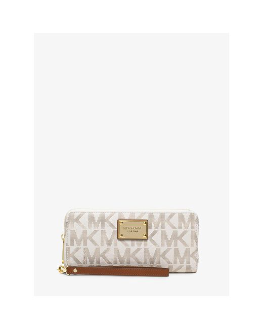 Michael Kors | White Jet Set Travel Continental Wristlet | Lyst