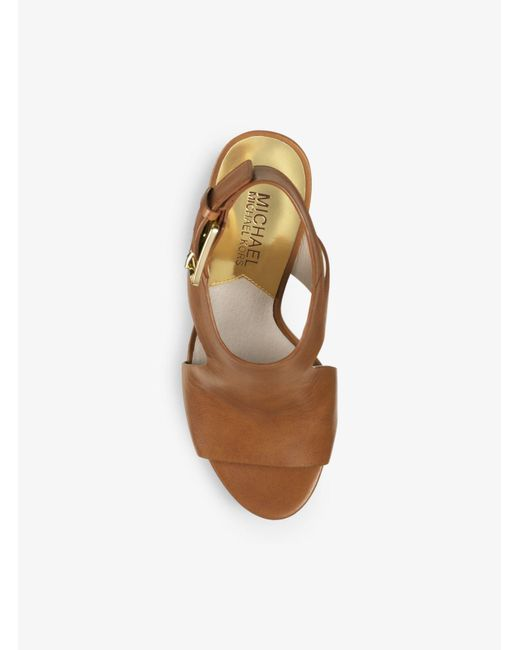 Michael Kors | Brown Josephine Leather Wedge | Lyst