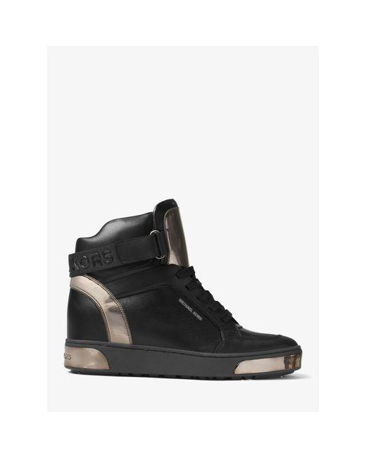 michael kors pia high top leather sneaker in black lyst. Black Bedroom Furniture Sets. Home Design Ideas