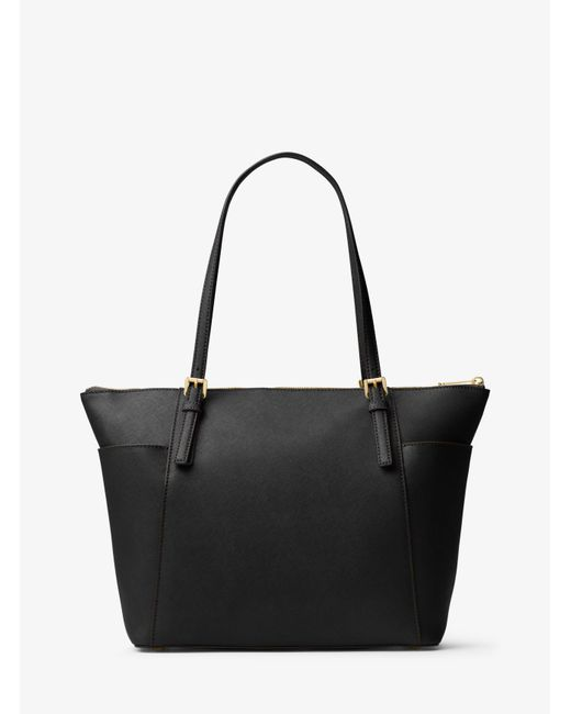 Michael Kors | Black Jet Set Large Top-zip Leather Tote | Lyst
