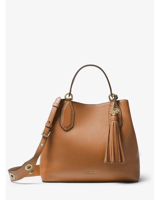 5ffbd4614522 Michael Kors - Brown Brooklyn Large Pebbled Leather Satchel - Lyst ...