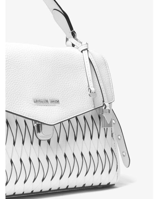 ... Michael Kors - White Bristol Medium Woven Leather Satchel - Lyst ...