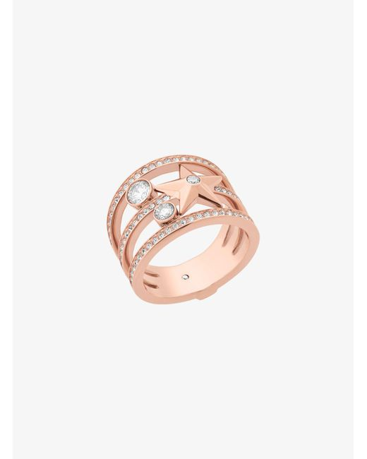 Michael Kors - Pink Rose Gold-tone Celestial Ring - Lyst