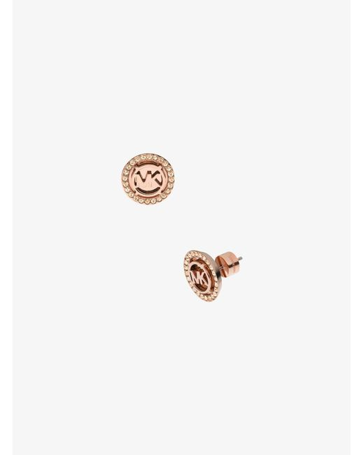 Michael Kors - Pink Logo Rose Gold-tone Stud Earrings - Lyst