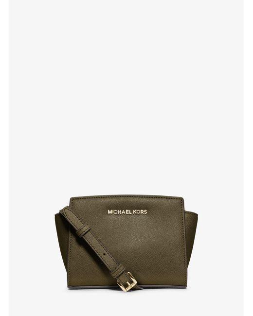 0184e8b8bb25 ... Michael Kors - Green Selma Mini Saffiano Leather Crossbody - Lyst ...