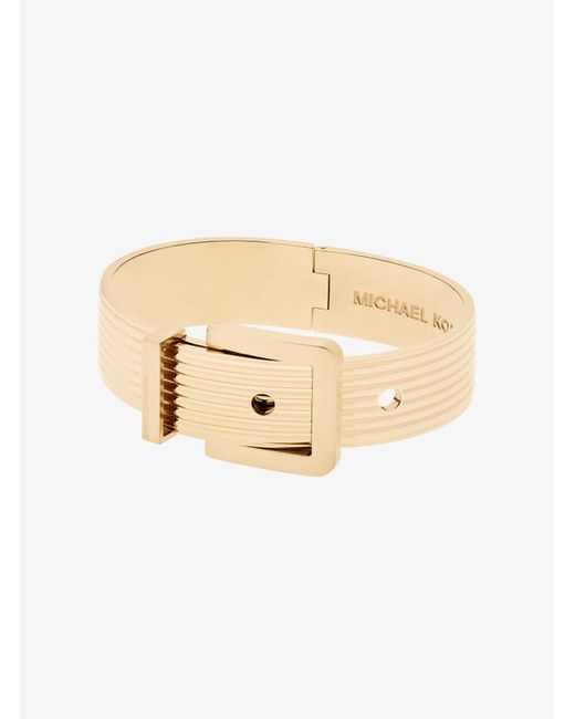 Michael Kors   Metallic Gold-tone Ribbed Buckle Bracelet   Lyst