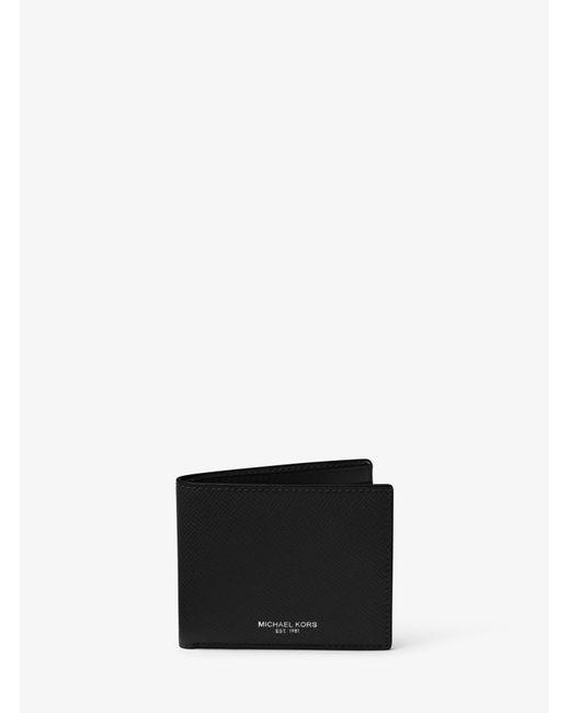 Michael Kors - Black Harrison Slim Leather Billfold Wallet for Men - Lyst