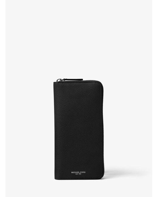 Michael Kors - Black Harrison Leather Zip-around Wallet for Men - Lyst