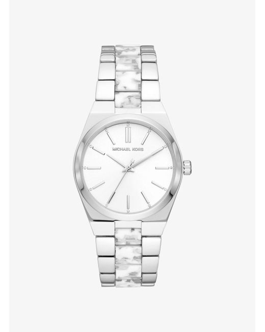 3393851a5f2a Michael Kors - Metallic Channing Silver-tone And Acetate Watch - Lyst ...