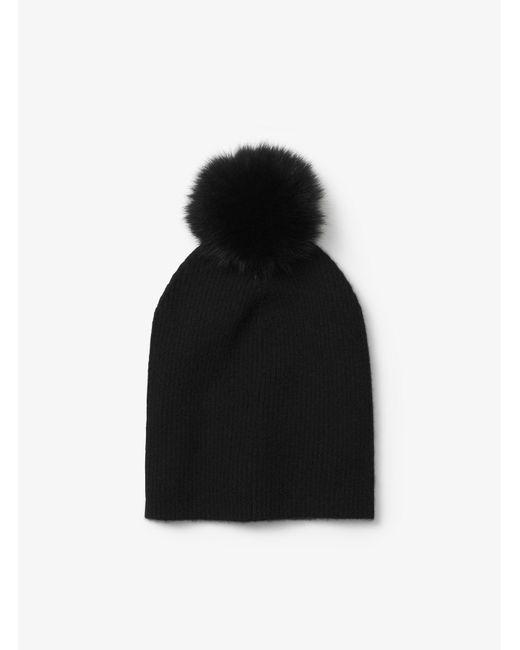 Michael Kors | Black Cashmere And Fur Pom-pom Beanie | Lyst