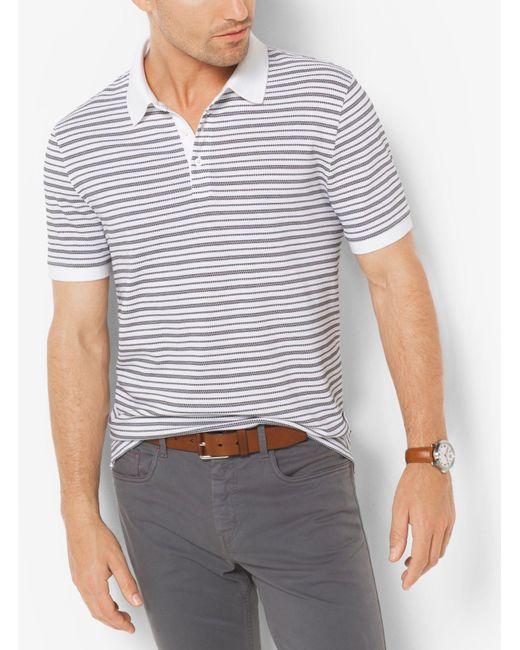 Michael Kors   White Striped Jacquard Polo Shirt for Men   Lyst