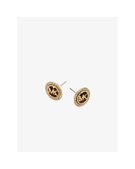 Michael Kors | Metallic Pavé Logo Tortoise Acetate Gold-tone Earrings | Lyst