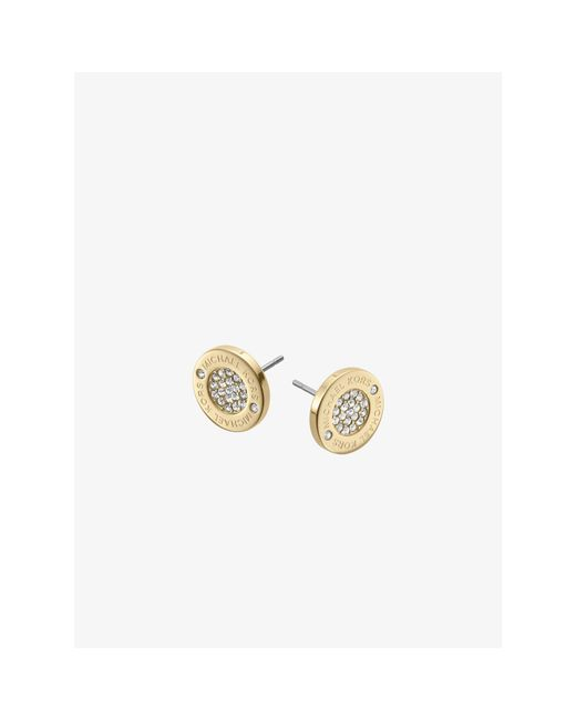 Michael Kors | Metallic Pavé Gold-tone Stud Earrings | Lyst
