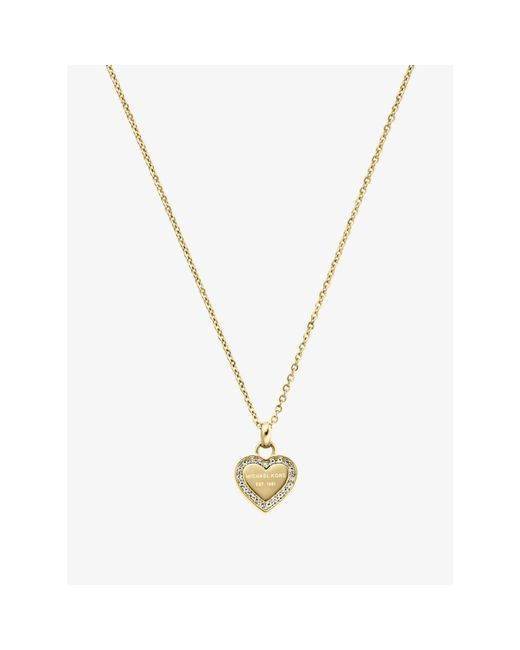 Michael Kors | Metallic Pavé Gold-tone Heart Charm Necklace | Lyst