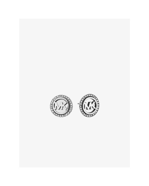 Michael Kors | Metallic Logo Button Silver-tone Earrings | Lyst