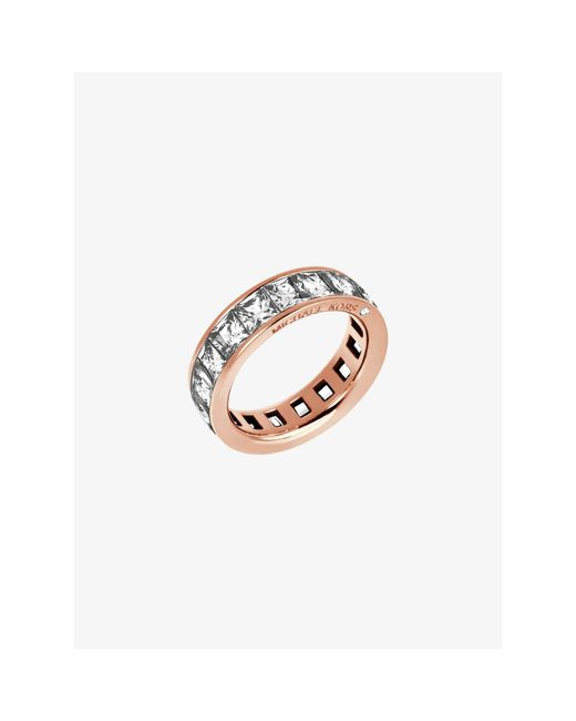 Michael Kors | Pink Baguette Crystal Rose Gold-tone Ring | Lyst
