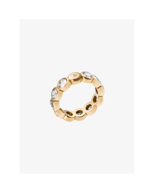 Michael Kors | Metallic Cubic Zirconia Gold-tone Circle Ring | Lyst