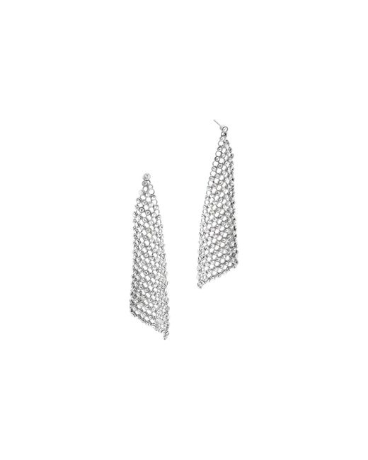 Michael Kors | Metallic Crystal Silver-tone Chain-mesh Earrings | Lyst
