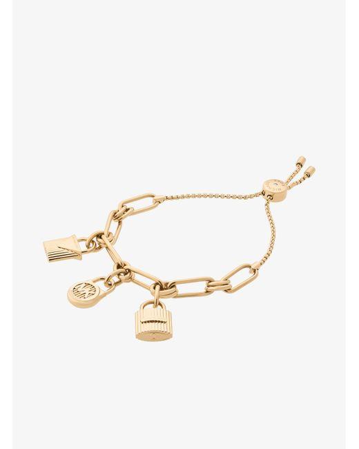 Michael Kors | Metallic Gold-tone Padlock Charm Slider Bracelet | Lyst