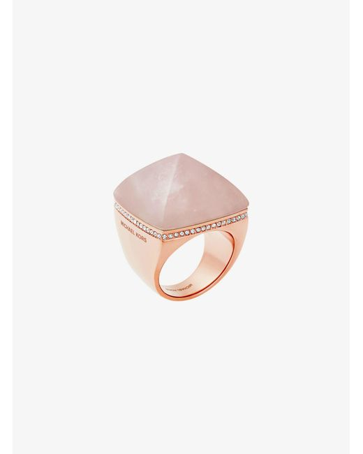 Michael Kors | Pink Rose Gold-tone Pyramid Ring | Lyst