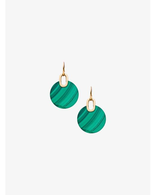 Michael Kors | Green Gold-tone Malachite Disc Drop Earrings | Lyst