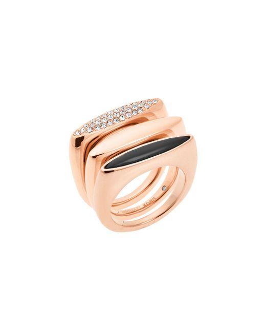 Michael Kors - Pink Rose-gold Ring Stack - Lyst