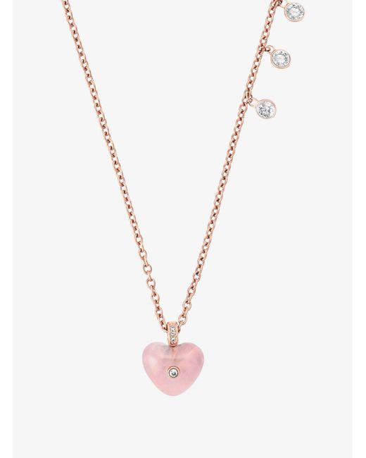 Michael Kors - Metallic Rose Gold-tone Heart Pendant Necklace - Lyst