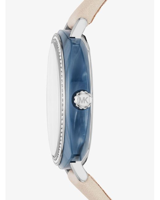 Michael Kors | Blue Nia Silver-tone And Leather Watch | Lyst