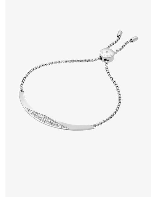 Michael Kors - Metallic Silver-tone Slider Bracelet - Lyst