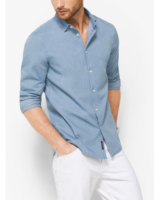 Michael Kors - Blue Slim-fit Denim Shirt for Men - Lyst