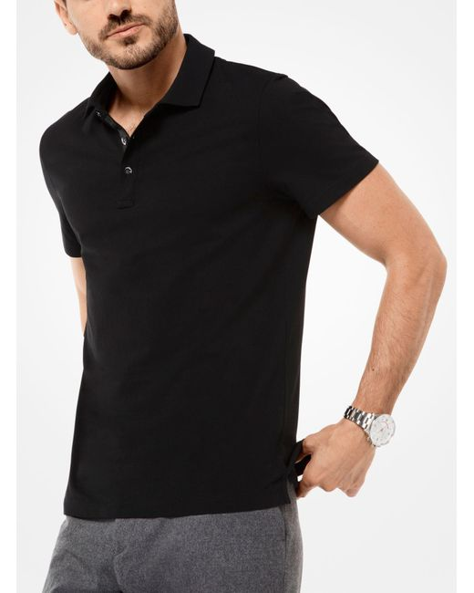 Michael Kors | Black Cotton Polo Shirt for Men | Lyst