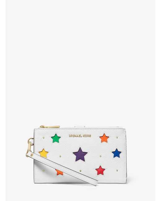 MICHAEL Michael Kors White Adele Star-cutout Pebbled Leather Smartphone Wallet