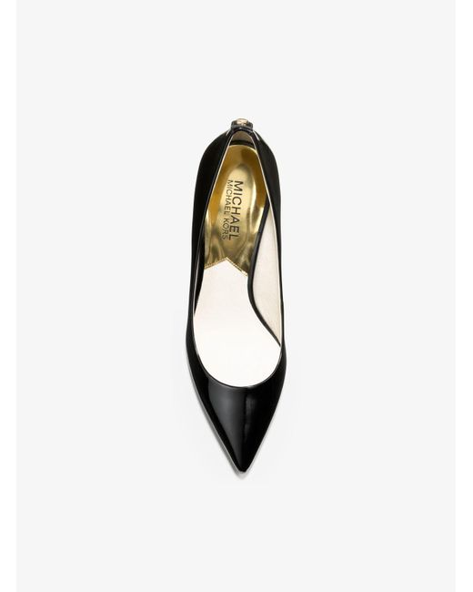 Michael Kors | Black Flex Patent-leather Kitten-heel Pump | Lyst