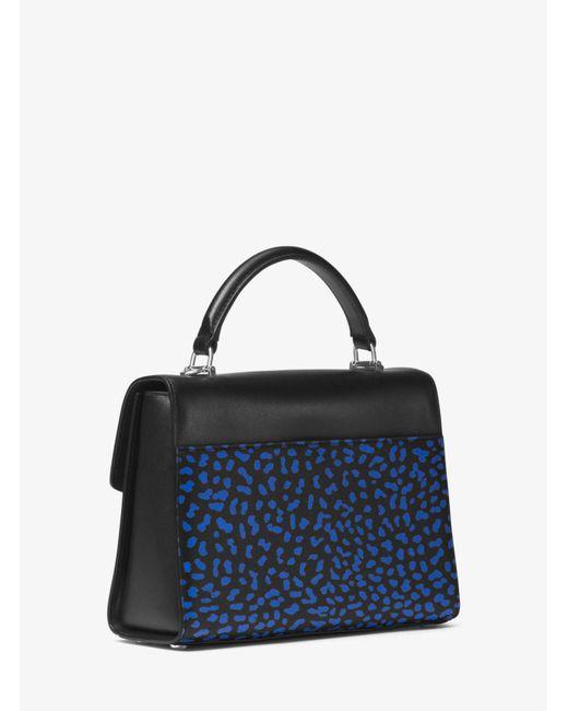 4381ebe4546f Michael Kors Black Sloan Leopard Leather Satchel Lyst .