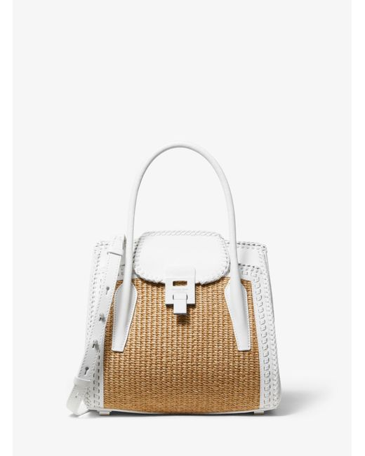 75d26c3121e460 Michael Kors - White Bancroft Medium Whipstitch Calf Leather And Straw  Satchel - Lyst ...